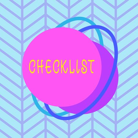 Text sign showing Checklist. Business photo text list items required things be done or points considered Asymmetrical uneven shaped format pattern object outline multicolour design Stockfoto