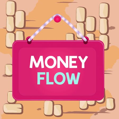 Word writing text Money Flow. Business photo showcasing the increase or decrease in the amount of money a business Board fixed nail frame string striped colored background rectangle panel