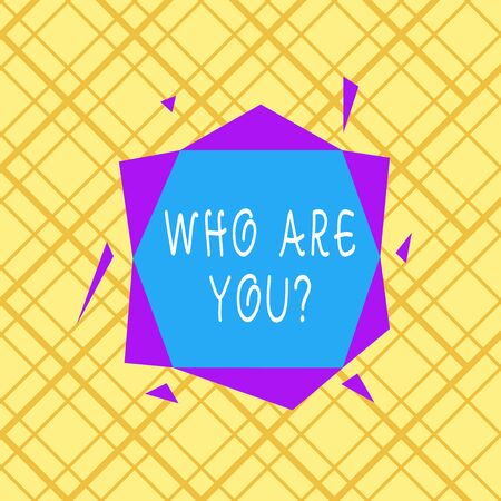 Writing note showing Who Are You Question. Business concept for asking about someone identity or demonstratingal information Asymmetrical format pattern object outline multicolor design