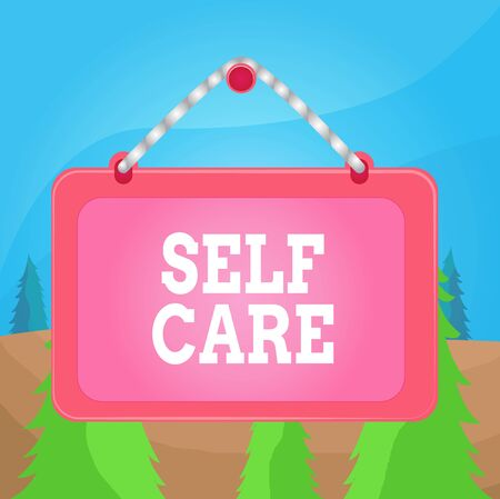 Word writing text Self Care. Business photo showcasing practice of taking action to preserve or improve ones own health Board fixed nail frame string striped colored background rectangle panel