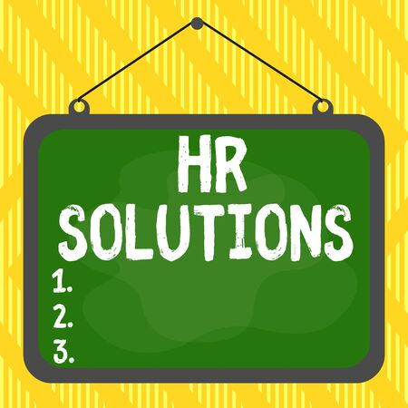 Word writing text Hr Solutions. Business photo showcasing all the technology businesses use to manage demonstratingnel Asymmetrical uneven shaped format pattern object outline multicolour design