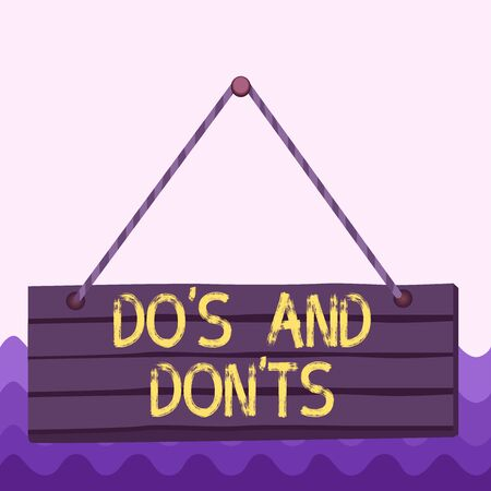Conceptual hand writing showing Dos And Don tS. Concept meaning Rules or customs concerning some activity or actions Wood plank nail pin colorful background wooden panel fixed Stock fotó