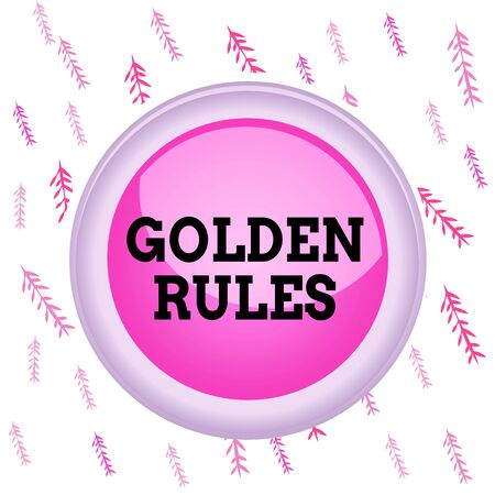 Handwriting text writing Golden Rules. Conceptual photo basic principle that should always follow to ensure success Circle button colored sphere switch center background middle round shaped