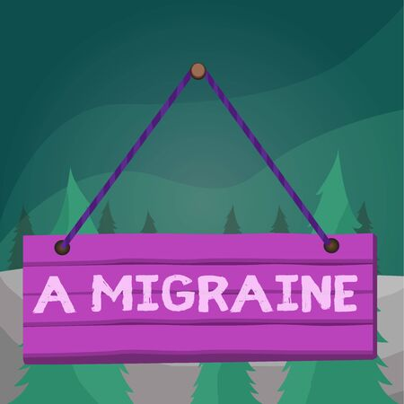 Word writing text A Migraine. Business photo showcasing recurrent throbbing headache that affects one side of the head Wood plank nail pin string board colorful background wooden panel fixed Reklamní fotografie