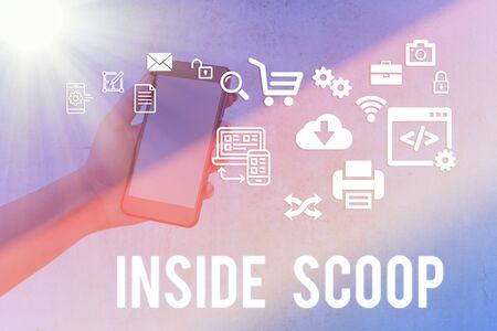 Writing note showing Inside Scoop. Business concept for Information that only an insider would have Real information