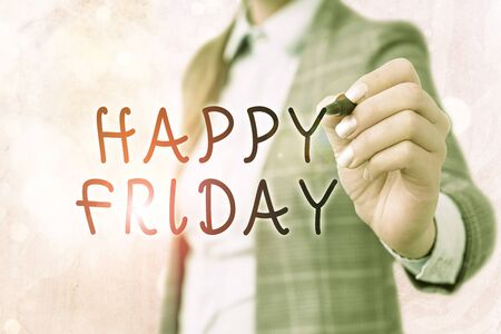 Word writing text Happy Friday. Business photo showcasing Greetings on Fridays because it is the end of the work week Imagens