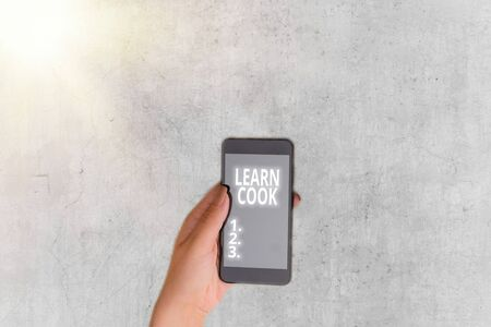 Writing note showing Learn Cook. Business concept for gaining knowledge or acquiring skills in culinary or food