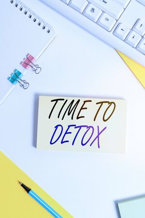 Writing note showing Time To Detox. Business concept for when you purify your body of toxins or stop consuming drug Flat lay with pc keyboard and copy space for text messages