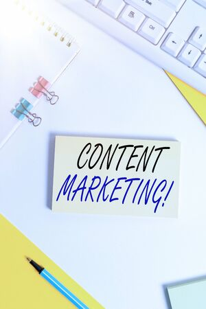 Writing note showing Content Marketing. Business concept for involves creation and sharing of online material Flat lay with pc keyboard and copy space for text messages