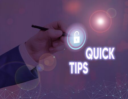 Word writing text Quick Tips. Business photo showcasing small but particularly useful piece of practical advice