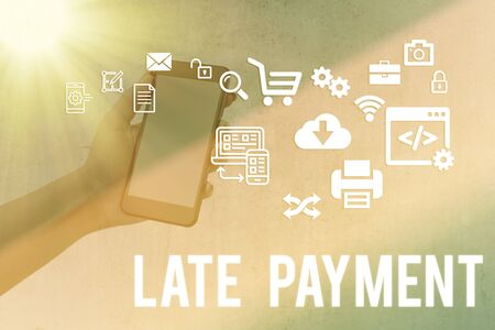 Writing note showing Late Payment. Business concept for payment made to the lender after the due date has passed