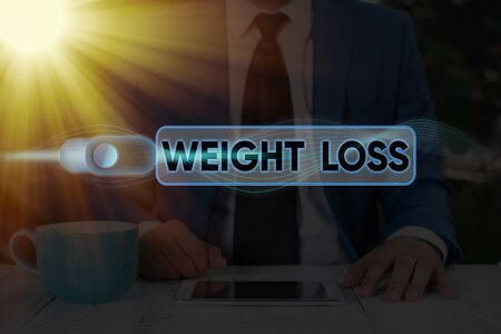 Text sign showing Weight Loss. Business photo text the fact of a demonstratings is or an animals is body weight becoming less