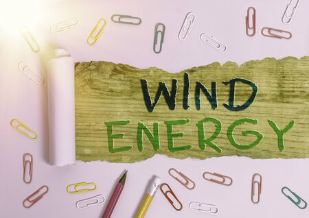 Word writing text Wind Energy. Business photo showcasing the process by which wind is used to generate electricity Stock Photo