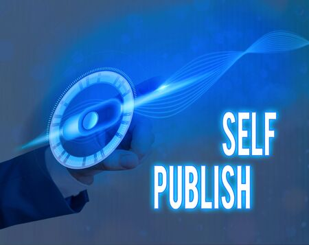 Text sign showing Self Publish. Business photo text writer publish piece of ones work independently at own expense