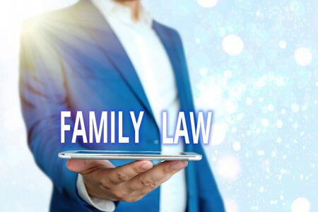 Text sign showing Family Law. Business photo showcasing the branch of law that deals with matters relating to the family