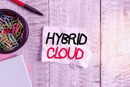 Text sign showing Hybrid Cloud. Business photo text computing environment that combines public and a private cloud Wrinkle paper and notebook plus stationary placed above wooden background Stock fotó