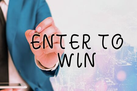 Word writing text Enter To Win. Business photo showcasing exchanging something value for prize chance winning prize