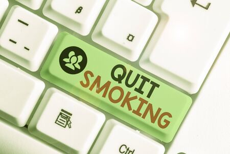 Word writing text Quit Smoking. Business photo showcasing process of discontinuing tobacco smoking or cessation