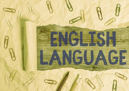 Conceptual hand writing showing English Language. Concept meaning third spoken native lang in world after Chinese and Spanish
