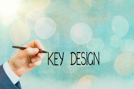 Conceptual hand writing showing Key Design. Concept meaning a necessary or very important realization of a concept or idea
