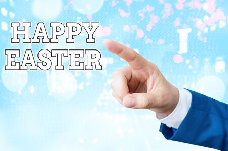 Handwriting text writing Happy Easter. Conceptual photo the Christian celebration of the Resurrection of Christ