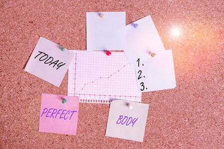 Handwriting text Perfect Body. Conceptual photo Having a body that is dreamily in shape and in healthy state Corkboard color size paper pin thumbtack tack sheet billboard notice board