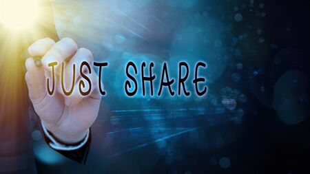 Conceptual hand writing showing Just Share. Concept meaning to have or use something at the same time as someone else Stockfoto
