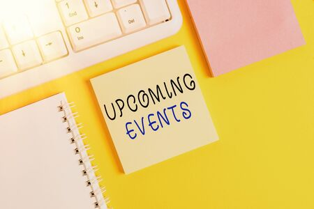 Writing note showing Upcoming Events. Business concept for thing that will happens or takes place soon planned occasion Empty papers with copy space on yellow background table