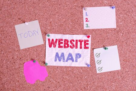 Handwriting text writing Website Map. Conceptual photo designed to help both users and search engines navigate the site Corkboard color size paper pin thumbtack tack sheet billboard notice board