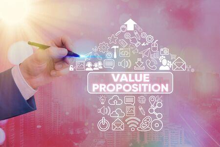 L'écriture de texte Word Proposition de valeur. Photo d'entreprise présentant une fonctionnalité destinée à rendre une entreprise ou un produit attrayant