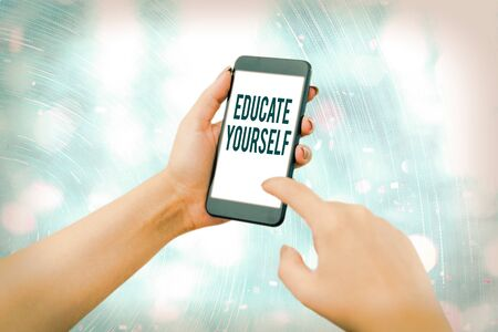 Conceptual hand writing showing Educate Yourself. Concept meaning prepare oneself or someone in a particular area or subject
