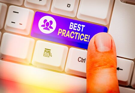Word writing text Best Practice. Business photo showcasing commercial procedures that are accepted prescribed being correct Stock fotó