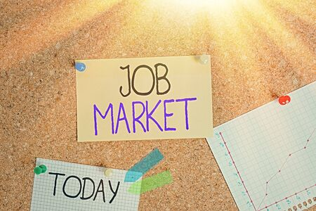 Writing note showing Job Market. Business concept for group of individuals seeking employment within an economy Corkboard size paper thumbtack sheet billboard notice board