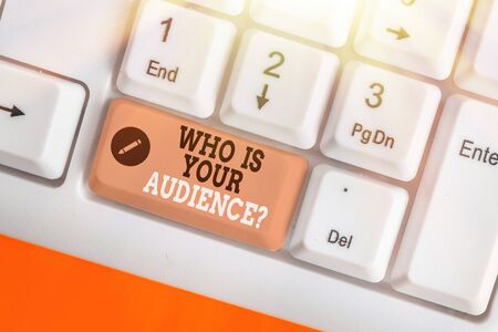Conceptual hand writing showing Who Is Your Audience Question. Concept meaning who is watching or listening to it