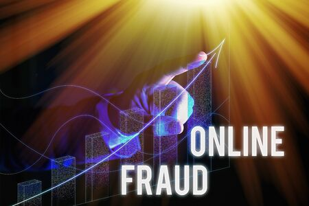 Word writing text Online Fraud. Business photo showcasing use of Internet services to deceive victims and steal money