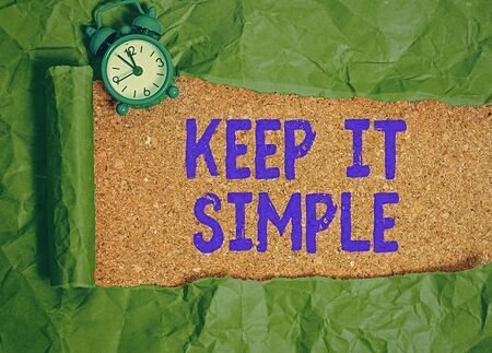 Text sign showing Keep It Simple. Business photo text ask something easy understand not go into too much detail