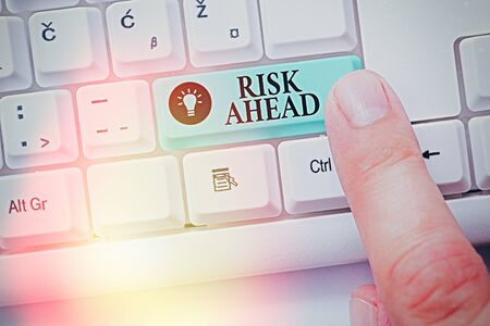 Text sign showing Risk Ahead. Business photo showcasing A probability or threat of damage, injury, liability, loss 版權商用圖片