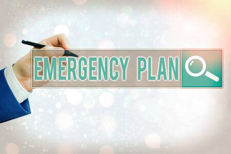Conceptual hand writing showing Emergency Plan. Concept meaning procedures for handling sudden or unexpected situations