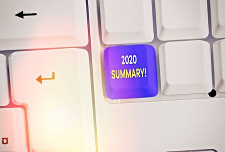 Text sign showing 2020 Summary. Business photo text summarizing past year events main actions or good shows