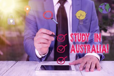 Conceptual hand writing showing Study In Australia. Concept meaning going into foreign country order complete your studies Banco de Imagens