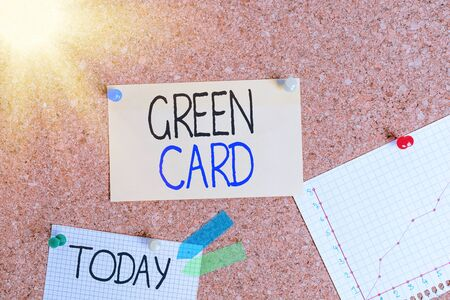 Writing note showing Green Card. Business concept for permit allowing a foreign national to live permanently in the US Corkboard size paper thumbtack sheet billboard notice board