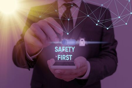 Text sign showing Safety First. Business photo showcasing used to say that the most important thing is to be safe