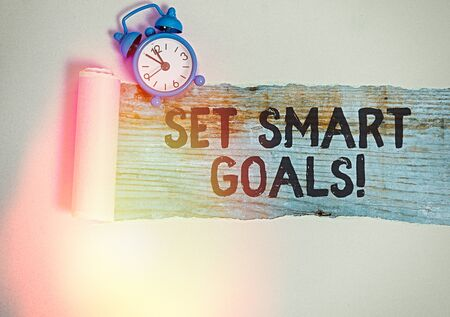 Text sign showing Set Smart Goals. Business photo text giving criteria to guide in the setting of objectives