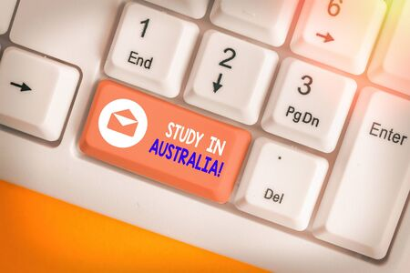 Text sign showing Study In Australia. Business photo showcasing going into foreign country order complete your studies