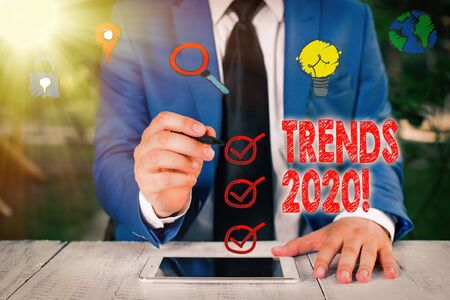 Conceptual hand writing showing Trends 2020. Concept meaning general direction in which something is developing or changing Zdjęcie Seryjne