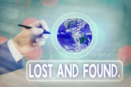 Conceptual hand writing showing Lost And Found. Concept meaning a place where lost items are stored until they reclaimed