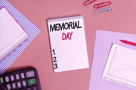 Text sign showing Memorial Day. Business photo text remembering the military demonstratingnel who died in service Striped paperboard notebook cardboard office study supplies chart paper 版權商用圖片