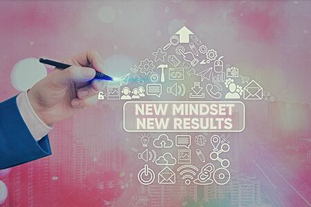 Word writing text New Mindset New Results. Business photo showcasing obstacles are opportunities to reach achievement Zdjęcie Seryjne