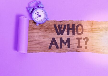 Word writing text Who Am I Question. Business photo showcasing asking about self identity or personal purpose in life