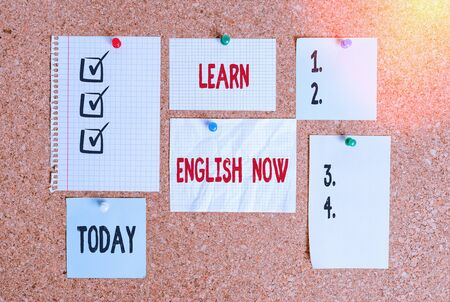 Conceptual hand writing showing Learn English Now. Concept meaning gain or acquire knowledge and skill of english language Corkboard size paper thumbtack sheet billboard notice board